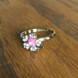 Juicy Couture Flower Crystal Diamond Gold Ring 8